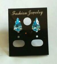 Blue Diamante Teardrop Silver Plated Stud Earrings