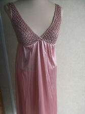 Womens Vintage Kayser Nightgown Brown Small Popcorn Lace V Neck Low Cut USA