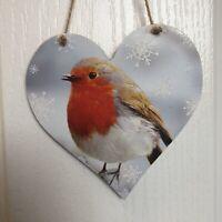 Handmade Decoupaged large wooden hanging heart Robin Christmas decoration 12cm