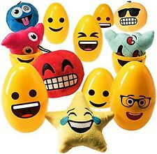 Jumbo Emoji Easter Eggs (6 pack) Filled with 5� Emoji Toy Plush Pillows Toys .