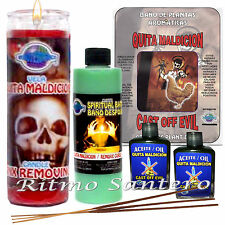 CAST OFF EVIL Ritual Kit 7 Day Candle, Herbs Cleansing Bath, Oil Essence Spell