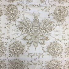 "William Sonoma Home Duvet Cover 86"" X 70"" Beige White Jacobean Print 100% Cotton"