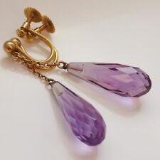 Stunning Vintage Pair 9ct Gold Briolette-cut Amethyst set Drop Earrings c1910