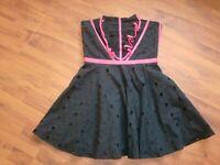 KAREN MILLEN SIZE 10 BLACK & HOT PINK STRAPLESS BONED SHORT PROM STYLE DRESS