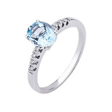 White Gold Ring 750 °/°° with Natural Diamonds And Water Marina Natural
