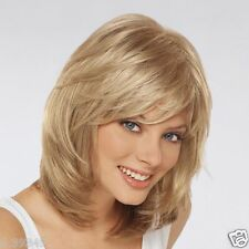 Amazing Hairstyle Medium Length Blonde Color Capless Wigs Synthetic Hair Wigs