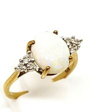 opal and diamond cluster 9ct yellow Gold Ring Size N 1/2 fully hallmarked