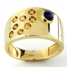 New 14k Yellow Gold Citrine and Sapphire Pinky Ring