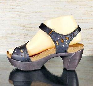 NAOT Israel Women's Sz 37 /US 6 Black Studded Cork Bed Comfort Heel Sandals -EUC