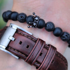 Fashion Charm Crown Men's Matte Lava Stone Beads Lovers Women Distance Bracelets