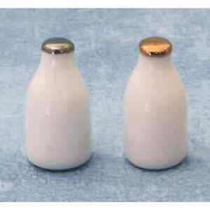 """DOLLS HOUSE 1/12th SCALE PAIR OF """"GLASS"""" MILK BOTTLES"""