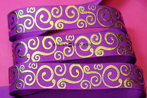 "4 2/3 yards 7/8"" Gold Foil Filigree Damask on Purple Printed Grosgrain Ribbon"
