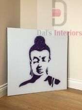 Purple Glitter Liquid Glass Buddha on White Bevelled Glass Wall mirror 75X75CM