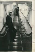 1956 Press Photo One of three escalators on board the aircraft carrier Saratoga