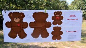 "LUV BEAR CUT-out VIP Cranston bear sewing craft Panel makes a 6"" & 13"" bear"