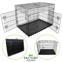 "[24""][30""][36""][42""][48""] Folding Portable Dog Crate Pet Cage Kennel Pen 2-Doors"