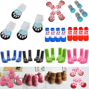4Pcs/Set Pet Dog Foot Shoes Paw Protector Outdoor Boots Puppy Wellies Booties.