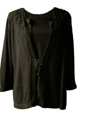 Sag Harbor L Black Cardigan With Top And Front Tie With Floral Embroider