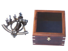 Maritime Antique Nautical Working German Marine Sextant W/ Wooden Box Brass Sextant Gift Large Assortment Antiques
