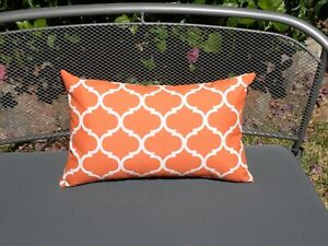 Outdoor Orange White Moroccan Lattice Trellis 33X53cm  Cushion Cover Au made