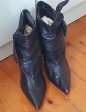 CORELLI Leather Black Ankle Leather Boots Stiletto High Heel Size 7 B5