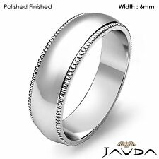 Solid Men Wedding Band Dome Milgrain Edge Classic Ring 6mm Platinum 10.7g 8-8.75