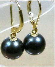 9-10MM round Black sea Shell Pearl bead earrings