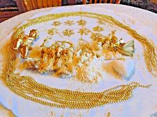 Christmas Tree Skirt Angel Gold White Ornaments Tassels Snowflake 45 Piece Music