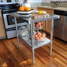 24 in. x 49 in. Stainless Steel Utility Table Kitchen Work Center Island Garage