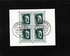Nazi Germany Trimmed Down Hitler 1937 Souvenir Sheet Iserlohn CDS April 20  A