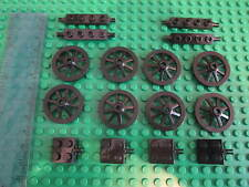 Lego Castle Minifigure Items 4 Sets of Black Cannon Spoked Wheels + Axle Plates