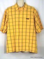 U. S. Polo Assn Men's SS Button Front Shirt Yellow Blue Striped Size XL