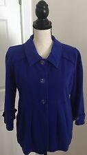 MOTTO Royal Blue Stretch Cotton Knit Jacket Women's Size Medium Button Front