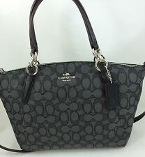 New Coach F58283 Signature Small Kelsey Satchel Purse Handbag Black Smoke
