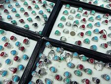 [US SELLER] 10pcs wholesale rings bulk lot turquoise stone costume jewelry rings