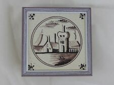 Old Tile Delft Tile Landscape Manganese Painting - from Estate Motif 178