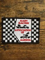 """Vtg Kart Racing Association Of Alberta Embroidered Sew On Patch 4"""" Badge AB Cart"""
