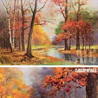 """36W""""x24H"""" AUTUMN GLADE, 1953 by ROBERT WOOD - TRANQUIL FALL SCENE WATER CANVAS"""