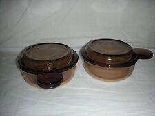 2 Corning Ware Vision V-150-B Amber Grab it Bowls Pyrex Lids FREE SHIPPING