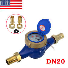 "Plated Brass Dn20 3/4"" Water Meter Flow House Garden Metering Various Connectors"