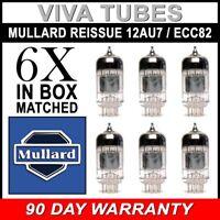 Brand New Mullard Reissue 12AU7 ECC82 Gain Matched Sextet (6) Vacuum Tubes