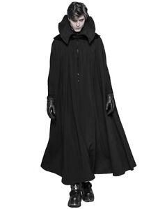 Punk Rave Mens Gothic Vampire Cloak Black Red High Collar Mantle Cape Coat LARP