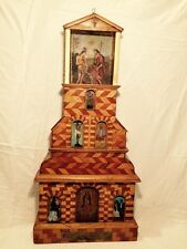 Antique Folk Art Retablo Display Church