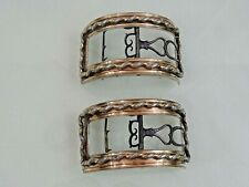 ANTIQUE FRENCH SILVER / ROSE GOLD pair SHOE BUCKLES FRANCE 18 CENTURY sterling