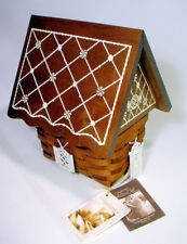 Mint LONGABERGER Basket GINGERBREAD HOUSE Collectors Club WOODEN Roof Lid TIE-ON