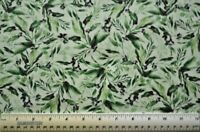 By the 1/2 yd 100% cotton fabric Chong-A-Hwang for TT Isabelle green leaves