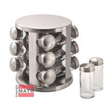 Edelstahl Gewürzständer mit 12 Glas Gewürzdosen Gewürzkarussell Gewürzebehälter