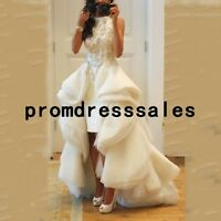 High Low Beaded Beach Bridal Gown Ruffles White/Ivory Wedding Dress Size 4 6 8++