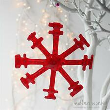 Molten Wonky Fused Glass Hanging Red Snowflake Gift Christmas Tree Decoration