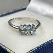 Retro Vintage Style Sterling Silver Trilogy Three Stone Blue Gem Set Ring Sz L M